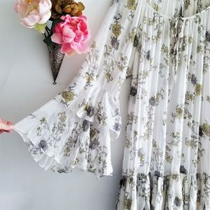 Sheer  Flowy Drop Waist Dress With Bell Sleeves